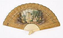 LITHOGRAPHED AND PAINTED CHILD'S CELLULOID BRISÉ FAN Applied classical scene with leaves and guards nicely painted to simulate Verni..