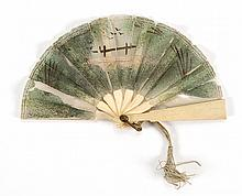 DOLL'S CHIFFON AND BONE FOLDING FAN Chiffon leaf painted green with a brown fence with two birds in flight above it, all amidst a fo..
