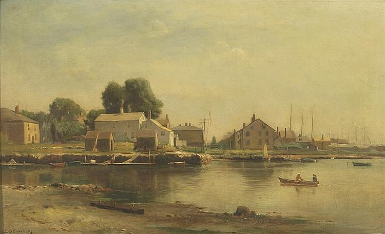LEMUEL D. ELDRED, American, 1848-1921, Harbor scene, probably Fairhaven, MA., Oil on canvas laid down on board, 16