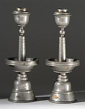 PAIR OF PEWTER CANDLESTICK LAMPS With circular bases and bowl-form drip pans. Heights 11