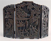 THREE-PANEL FOLDING WOOD TABLE SCREEN With figural landscape design. Height 12