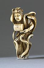 IVORY NETSUKE By Hosai. Depicting a tennin with a drum. Signed. Height 2.25