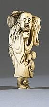 IVORY NETSUKE In the form of a sennin carrying a basket on his back and a gourd at his waist. Height 3