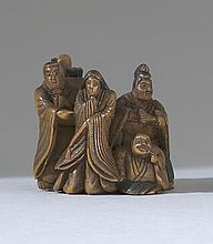 WOOD NETSUKE By Naomitsu. Depicting the Six Poets of Japan with some stained details. Signed. Height 1.25