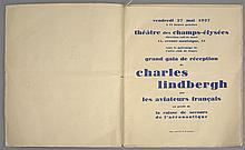 (EPHEMERA): LINDBERGH grand gala de reception de charles lindbergh par les aviateurs francais. Signed program for a gala reception a...