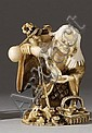 IVORY NETSUKE By Ikko. Depicting Gama Sennin feeding sake to a myriad of frogs. Signed. Not available for international or Californi...