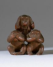 WOOD NETSUKE/OKIMONO By Unhodo Masayoshi. Depicting the three mythical monkeys. Signed. Height 2