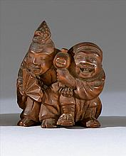 WOOD NETSUKE Depicting Daikoku and Ebisu. Height 2