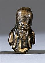 MIXED-METAL OJIME In the form of Fukurokuju. Height .75