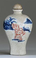 UNDERGLAZE RED AND BLUE PORCELAIN SNUFF BOTTLE In meiping form with figural landscape design. Height 2.75