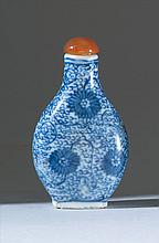 BLUE AND WHITE PORCELAIN SNUFF BOTTLE In pear shape with flower and vine design. Four-character Qianlong mark on base. Height 2.3