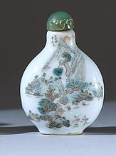 POLYCHROME PORCELAIN SNUFF BOTTLE In pear shape with delicate figural landscape design. Four-character Qianlong mark on base. Height...