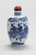 BLUE AND WHITE PORCELAIN SNUFF BOTTLE In seed form with horsemen and fortress design. Six-character Yongzheng mark on base. Height 2...