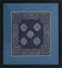 FRAMED NEEDLEWORK PANEL With lavender floral design on a deep blue ground. 15.6