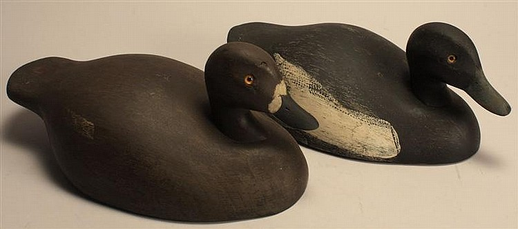 PAIR OF BLUEBILL DECOYS By Ken Harris of Woodville, New York. Both with white stamp. Some repaint to body.