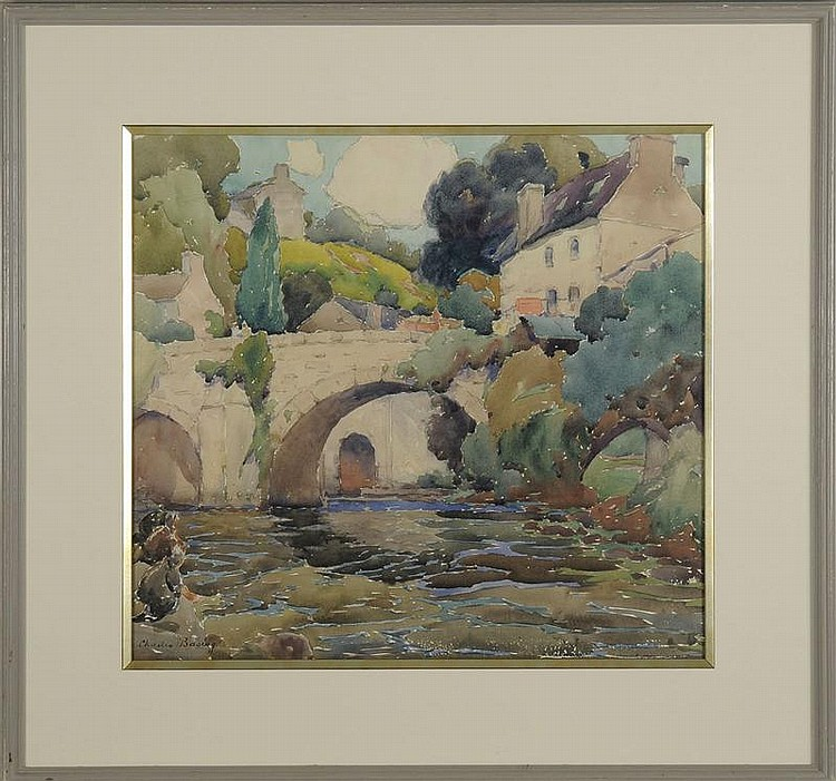 CHARLES BASING, 1865-1933, River view with distant bridge and houses., Watercolor on paper, 18¾