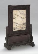 DREAMSTONE TABLE SCREEN With carved wood stand and frame. Height overall 29