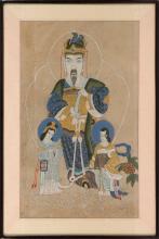FRAMED KOREAN ANCESTRAL PORTRAIT Depicting a scholar and two attendants. On paper, 29