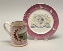 TWO PIECES OF SUNDERLAND LUSTRE SOFT PASTE A plate decorated with sailing ships and a compass rose, diameter 8