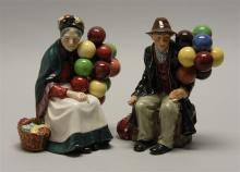 PAIR OF ROYAL DOULTON FIGURES OF BALLOON SELLERS