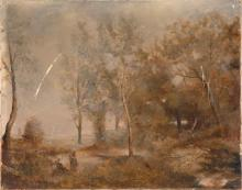 MANNER OF COROT, French, Early 20th Century, Woman gathering sticks by a forest pond., Oil on canvas, 15.5