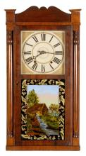 SHELF CLOCK By Daniel Pratt, Jr. of Reading, Massachusetts. Mahogany and mahogany veneer case with shaped cornice and columned sides...