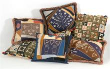 SEVEN CONTEMPORARY NEEDLEWORK AND PATCHWORK ACCENT PILLOWS Four approximately 16