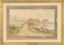 ELLA B. SMITH, Massachusetts, 20th Century, Coastal village., Watercolor on paper, 9.5