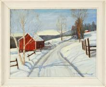 GERTRUDE DUNBAR THOMAS, American, Mid-20th Century, Winter scene of a red barn on the side of a winding road., Oil on canvas, 16