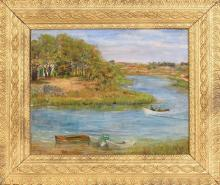 ETHEL BAKER MAYO, Cape Cod, Mid-20th Century, Landscape, likely the Orleans River., Oil on board, 15.5