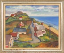 SAMUEL S. HUBER, American, 1900-1973, Houses by the bay, likely Truro, Massachusetts., Oil on canvas, 16
