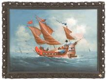 CHINESE SCHOOL, 19th Century, A Chinese junk at sea., Oil on canvas, 8.25