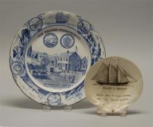 BUFFALO POTTERY PLATE With blue and white transfer decoration commemorating the city of New Bedford, Massachusetts. Diameter 10.25