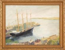 AMERICAN SCHOOL, First Half of the 20th Century, A four-masted schooner at dock,, Oil on artist board, 12