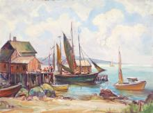 AMERICAN SCHOOL, Mid-20th Century, Dock scene., Oil on masonite, 12