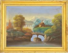 AMERICAN SCHOOL, Late 19th/Early 20th Century, Primitive Hudson River-style landscape with cottages and mountains., Oil on canvas, 1...