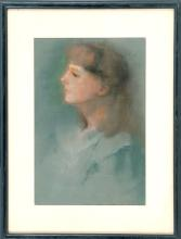 LEE LUFKIN KAULA, American, 1865-1957, Portrait of a young lady., Pastel on paper, 15