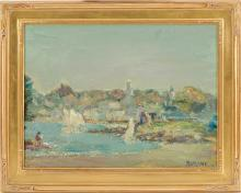 JOSEPH RIMINI, American, 1920-2000, Cape Ann harbor scene., Oil on board, 12