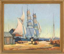 CAPE ANN SCHOOL, Mid-20th Century, North Shore harbor., Oil on canvas, 25