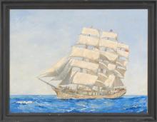 GEORGE GALE, Rhode Island, 1893-1951, Portrait of the ship Carmania., Oil on canvas, 30