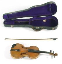 COPY OF A STRADIVARIUS VIOLIN BY JOHN BAPT. SCHWEITZER Includes hard-shell case and a Bausch bow made in Germany. Length of violin b...