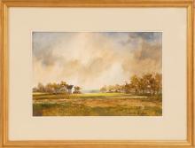 MARSHALL WOODSIDE JOYCE, Massachusetts, 1912-1998, Looking across the farm., Acrylic on board, 9