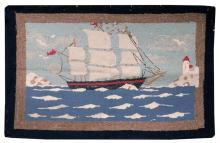 PICTORIAL HOOKED RUG DEPICTING A THREE-MASTED SHIP Central ship flying red pennants sails right toward a white lighthouse. Ship's hu...