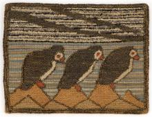 GRENFELL MAT FEATURING PUFFINS Three puffins perched on rocks and facing right. Ocean background with striated bands of blues and gr...