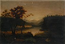 AMERICAN SCHOOL, 19th Century, Hudson River landscape., Oil on canvas, 22