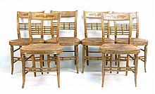 SET OF SIX ANTIQUE AMERICAN FANCY SHERATON SIDE CHAIRS In faux grained paint. Rush seats.