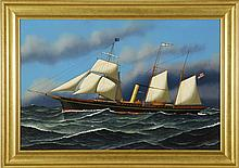 JEROME HOWES, American, b. 1955, The steam/sail ship Alva., Oil on masonite, 24