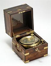 TWO-DAY MARINE CHRONOMETER BY NORRIS & CAMPBELL, LIVERPOOL No. 736. Unmarked movement. Silvered dial with engraved Roman numerals an...