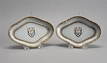 PAIR OF CHINESE EXPORT PORCELAIN DISHES In lozenge form with spearhead border and shield-form crest. Lengths 7.5