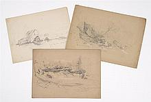 BENJAMIN CHAMPNEY, American, 1817-1907, Three sketches of New Hampshire river scenes., Pencils on paper. Unframed.